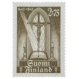 Kirjapainotaito Suomessa 300 vuotta - Raamattu ruskea postimerkki 2