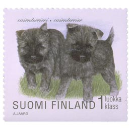Koiranpentuja - Cairnterrieri  postimerkki 1 luokka