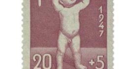 Lastenhuolto lila postimerkki 20 markka