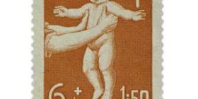 Lastenhuolto punertavanoranssi postimerkki 6 markka