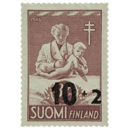 Lastenhuolto ruskeanlila postimerkki 10 markka