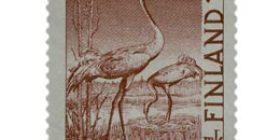 Lintuja - Kurki ruskeanpunainen postimerkki 12 markka