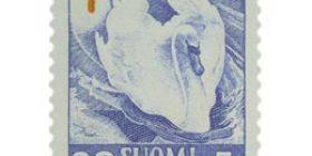 Lintuja - Kyhmyjoutsen sininen / punainen postimerkki 30 markka