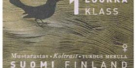 Maakuntalinnut - Mustarastas  postimerkki 1 luokka
