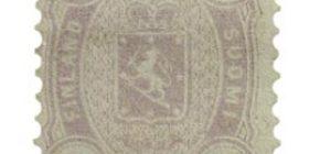 Malli 1875 lila postimerkki 1 markka