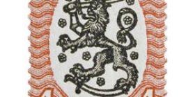 Malli 1917 Saarinen punainen / musta postimerkki 1 markka