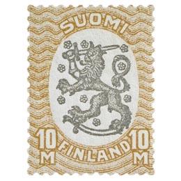 Malli 1917 Saarinen ruskea / musta postimerkki 10 markka
