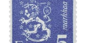 Malli 1930 Leijona sininen postimerkki 5 markka