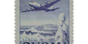Malli 1930 Lentokone sininen postimerkki 300 markka