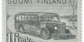 Malli 1930 Postilinja-auto harmaa postimerkki 16 markka