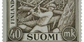 Malli 1930 Puunkaataja ruskea postimerkki 40 markka