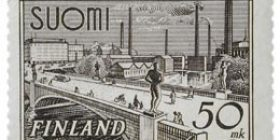 Malli 1930 Tampere lilanharmaa postimerkki 50 markka