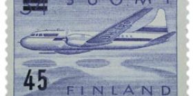 Malli 1954 Convair sininen postimerkki 45 markka