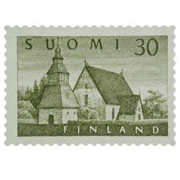 Malli 1954 Lammin kirkko oliivi postimerkki 30 markka