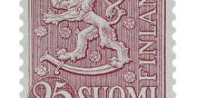 Malli 1954 Leijona lila postimerkki 25 markka
