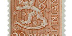 Malli 1954 Leijona punainen postimerkki 20 markka