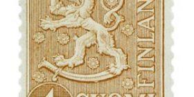 Malli 1954 Leijona ruskea postimerkki 1 markka