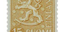 Malli 1954 Leijona ruskeankeltainen postimerkki 15 markka