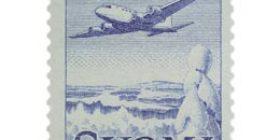 Malli 1954 Lentokone sininen postimerkki 300 markka