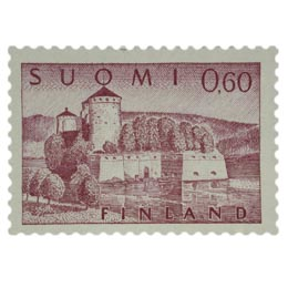 Malli 1963 Olavinlinna lila postimerkki 0