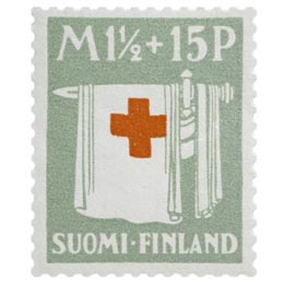 Miekka ja viitta oliivinharmaa postimerkki 1