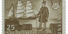 Oulu 350 vuotta ruskea postimerkki 25 markka