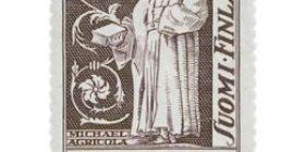 Piispoja - Mikael Agricola violetti postimerkki 2 markka