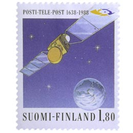 Posti- ja Telelaitos 350 vuotta: Satelliitti  postimerkki 1