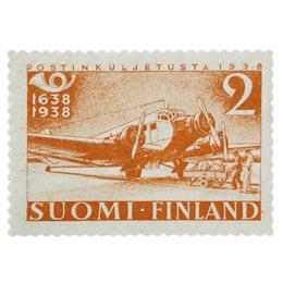 Postin 300-vuotisjuhla - Junkers punaoranssi postimerkki 2 markka