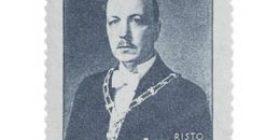 Presidentti Risto Ryti siniharmaa postimerkki 5 markka