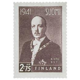 Presidentti Risto Ryti tummanvioletti postimerkki 2