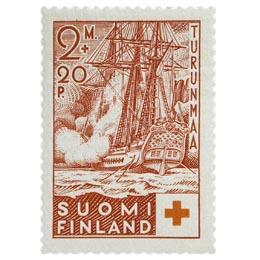 Sota-aluksia - Fregatti Lodbrok tummankarmiini postimerkki 2 markka