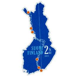 Struven ketju - Suomen kartta  postimerkki 2 luokka