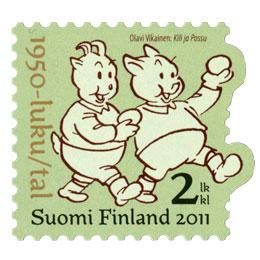Suomalainen sarjakuva 100 vuotta - Kili ja Possu  postimerkki 2 luokka