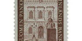 Suomen Pankki 150 vuotta punaruskea postimerkki 30 markka