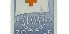 Suomen Punainen Risti 80 vuotta sininen postimerkki 30 markka