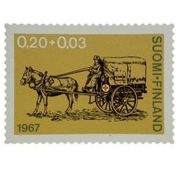 Suomen Punainen Risti 90 vuotta - Hevosambulanssi  postimerkki 0