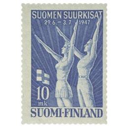 Suomen Suurkisat sininen postimerkki 10 markka