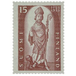 Suomen kirkko 800 vuotta ruskeanvioletti postimerkki 15 markka