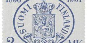 Suomen postimerkit 75 vuotta sininen postimerkki 2 markka