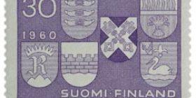 Uudet kaupungit violetti postimerkki 30 markka