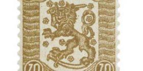 Vaasan malli 1918 ruskea postimerkki 0