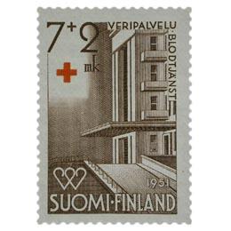 Veripalvelu - Sairaala ruskea postimerkki 7 markka