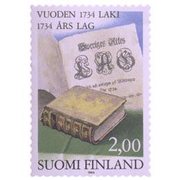Vuoden 1734 laki  postimerkki 2 markka